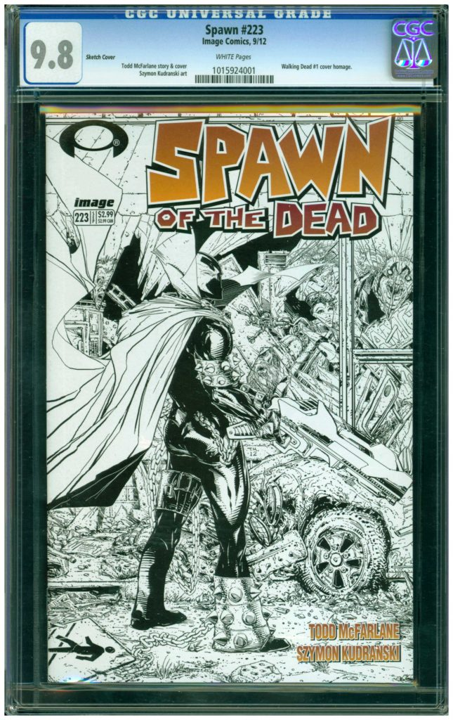 spawn 223 cgc 9.8 sketch cover walking dead 1 homage cover variant
