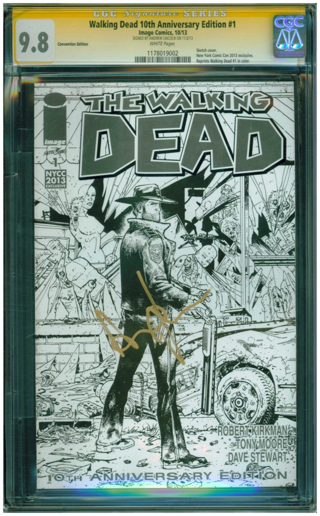 the walking dead 1 cgc ss andrew lincoln rick grimes cgc ss 9.8 sketch cover