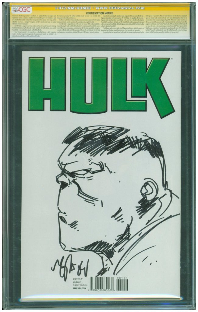 mike del mundo cgc ss 9,8 sketch hulk back