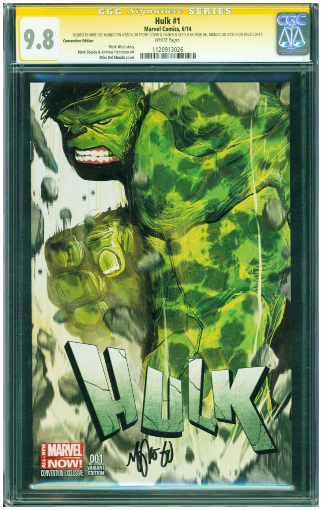 mike del mundo cgc ss sketch cover hulk