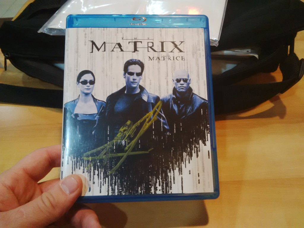 Matrix Bluray Signed by Keanu Reeves
