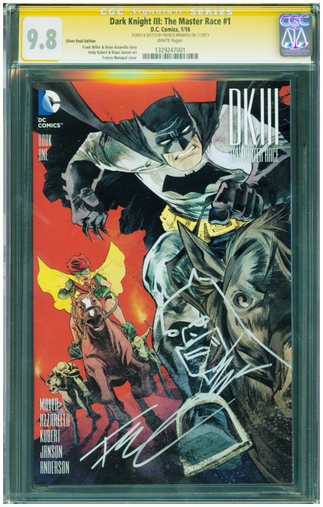 francis manapul cgc ss signature and sketch dark knight 9.8 frank miller